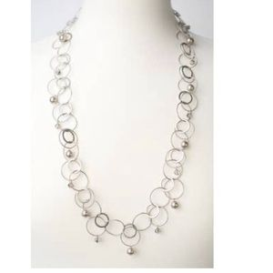 """30"""" Windsor Castle Pearl and Hoop Chain Necklace"""
